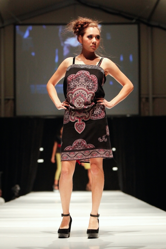 Runway model Alana wearing border dress