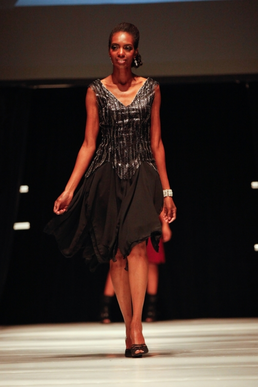 Runway model Cary wearing After Five cocktail dress