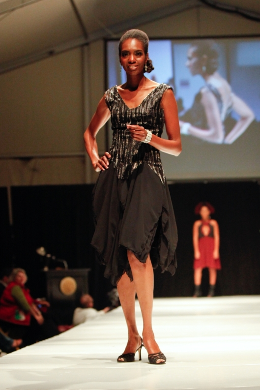 Runway model Cary showing front of After Five cocktail dress