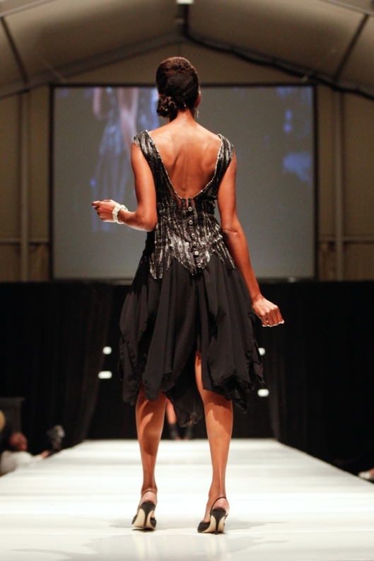 Runway model Cary showing back of After Five cocktail dress